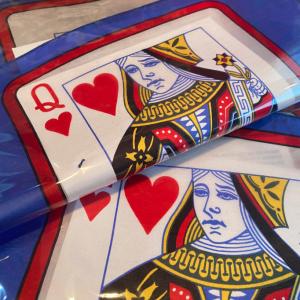 Carta en el pañuelo – dama de corazones 30 cm x 30 cm